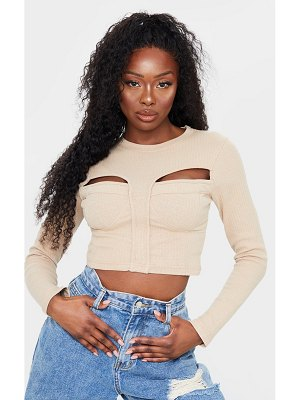 PrettyLittleThing structured rib bust cup detail cut out long sleeve crop top