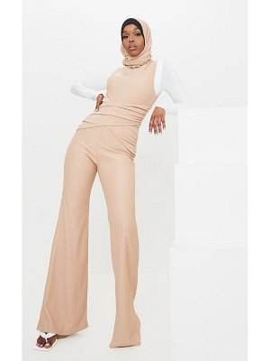 PrettyLittleThing structured rib high neck sleeveless wrap jumpsuit