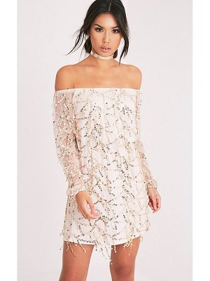 PrettyLittleThing suki sequin detail bardot dress