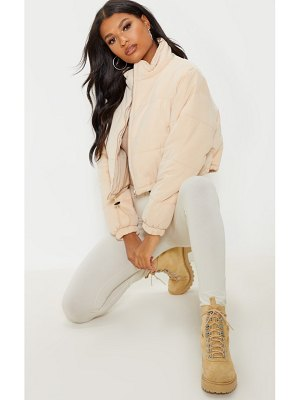PrettyLittleThing super cropped peach skin puffer