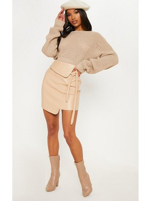 PrettyLittleThing super soft faux leather tie detail mini skirt