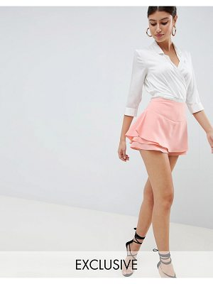 PrettyLittleThing exclusive tailored frill shorts