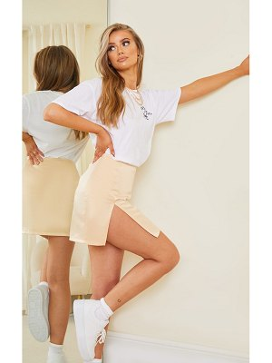 PrettyLittleThing tailored satin split front mini skirt