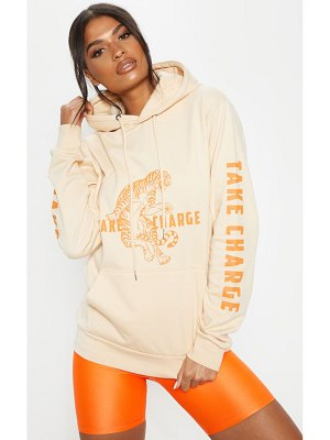 PrettyLittleThing take control slogan oversized hoodie