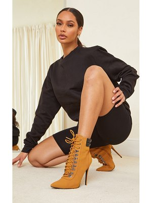 PrettyLittleThing tan hiker lace up stiletto heels boot