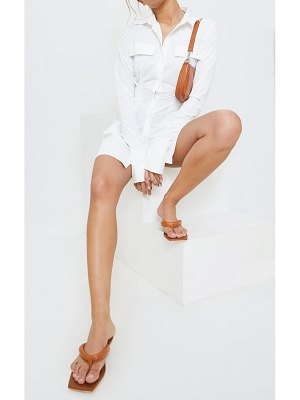 PrettyLittleThing tan real leather padded strap square toe flip flop