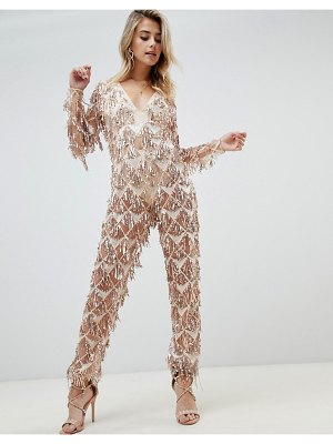 PrettyLittleThing tassel sequin jumpsuit in gold