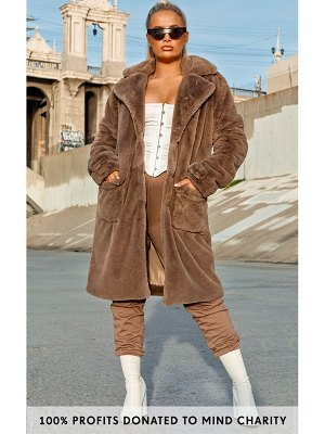 PrettyLittleThing taupe faux fur military coat