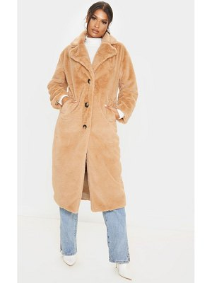 PrettyLittleThing maxi faux fur button front coat