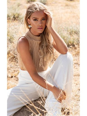 PrettyLittleThing taupe ribbed knitted crop top