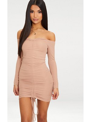 PrettyLittleThing taupe ribbed long sleeve bardot ruched bodycon dress