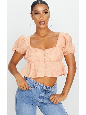 PrettyLittleThing textured button front puff sleeve crop top