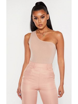 PrettyLittleThing textured glitter one shoulder bodysuit