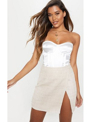 PrettyLittleThing textured glitter tweed split front mini skirt