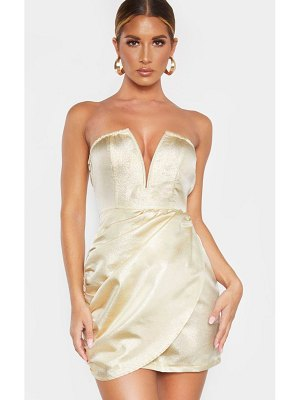 PrettyLittleThing textured glitter v bar bandeau ruched bodycon dress