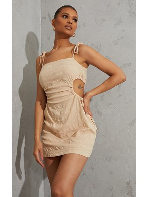 PrettyLittleThing textured linen look ruched cut out bodycon dress