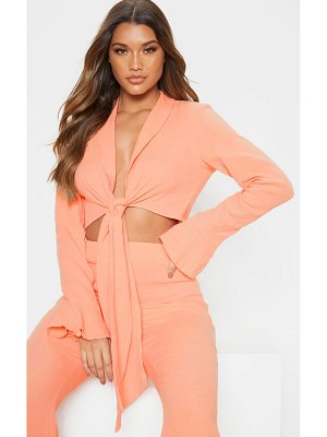 PrettyLittleThing textured long sleeve frill detail blouse