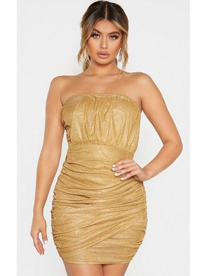 PrettyLittleThing textured metallic glitter ruched bandeau bodycon dress