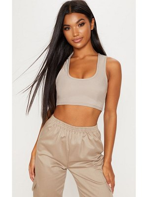 PrettyLittleThing textured rib racer back crop top