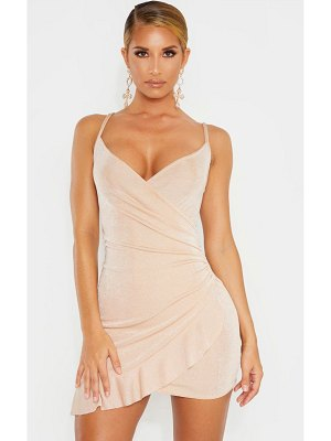 PrettyLittleThing textured slinky frill hem strappy bodycon dress
