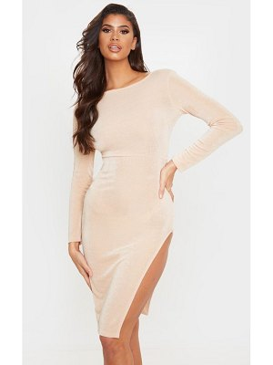 PrettyLittleThing textured slinky long sleeve cross back midi dress
