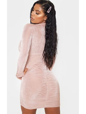 PrettyLittleThing textured slinky long sleeve high neck ruched back bodycon dress