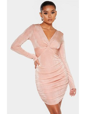 PrettyLittleThing textured slinky long sleeve knot detail bodycon dress