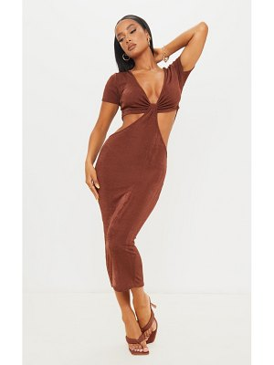 PrettyLittleThing textured slinky short sleeve knot cut out detail midaxi dress