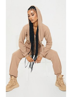 PrettyLittleThing thick rib hooded zip jumpsuit