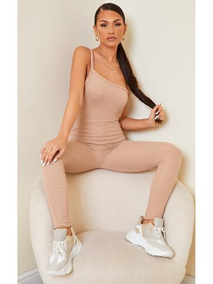 PrettyLittleThing thick rib one shoulder jumpsuit
