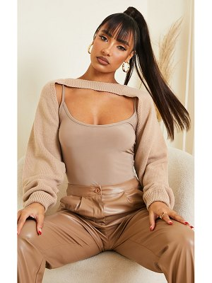 PrettyLittleThing tie back knitted sleeves crop sweater