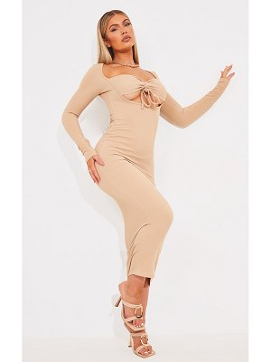 PrettyLittleThing tie bust detail long sleeve ribbed midaxi dress