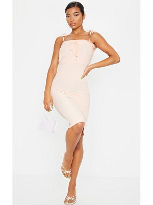 PrettyLittleThing tie detail ribbed frill edge midi dress