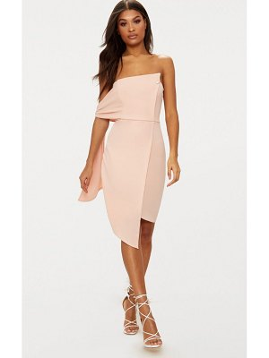 PrettyLittleThing tie detail wrap front bandeau midi dress