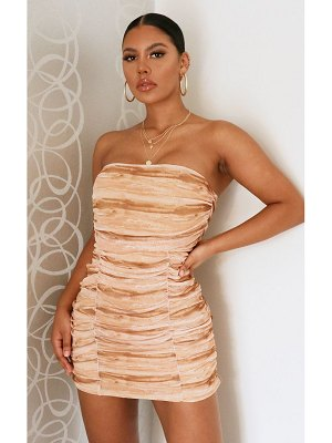 PrettyLittleThing tie dye mesh extreme ruched bandeau bodycon dress