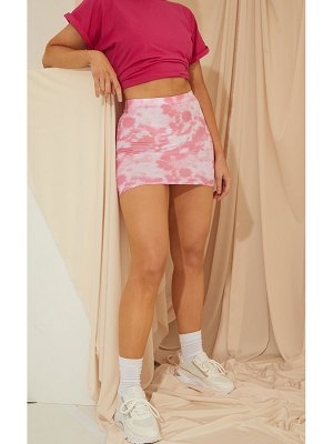 PrettyLittleThing tie dye print mini skirt