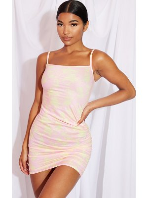 PrettyLittleThing tie dye print straight neck ruched side bodycon dress