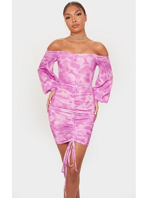 PrettyLittleThing tie dye ribbed bardot balloon sleeve ruched bodycon dress