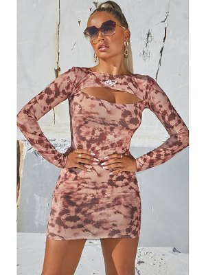 PrettyLittleThing tie dye ribbed cut out long sleeve bodycon dress