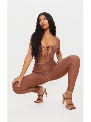 PrettyLittleThing tie front contrast seam short sleeve jumpsuit