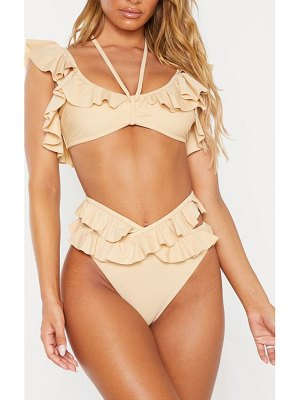 PrettyLittleThing tie front frill bikini top