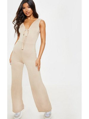 PrettyLittleThing tie front loose jumpsuit