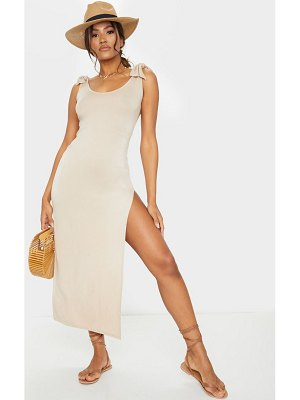 PrettyLittleThing tie shoulder scoop neck jersey midi dress