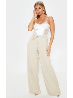 PrettyLittleThing tie waist detail extreme wide leg pants