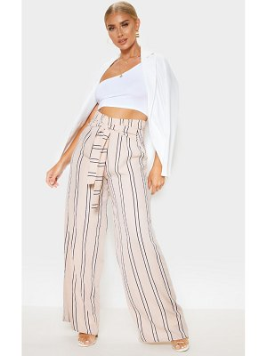 PrettyLittleThing tie waist stripe woven wide leg pants