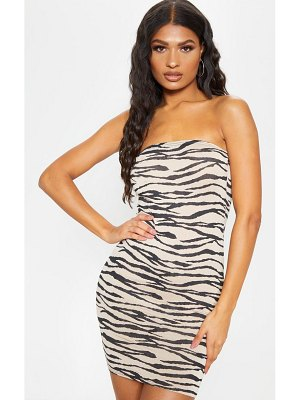 PrettyLittleThing tiger print bandeau bodycon dress