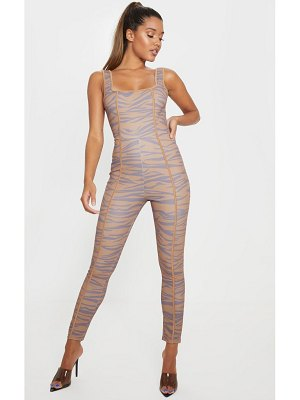 PrettyLittleThing tiger print binding detail sleeveless jumpsuit