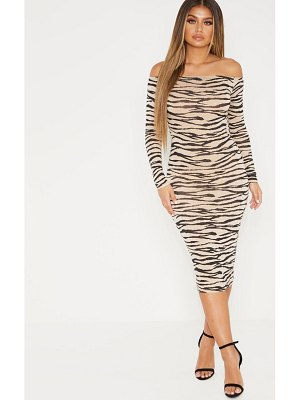 PrettyLittleThing tiger print long sleeve bardot midi dress