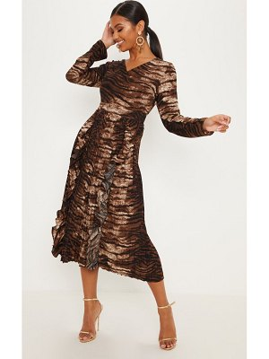 PrettyLittleThing tiger print long sleeve frill detail pleated skater midi dress