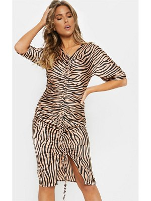 PrettyLittleThing tiger print ruched front midi dress